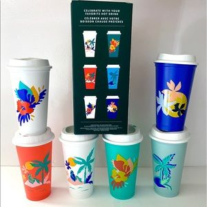 Reusable Starbucks palm tree tropical hot cups